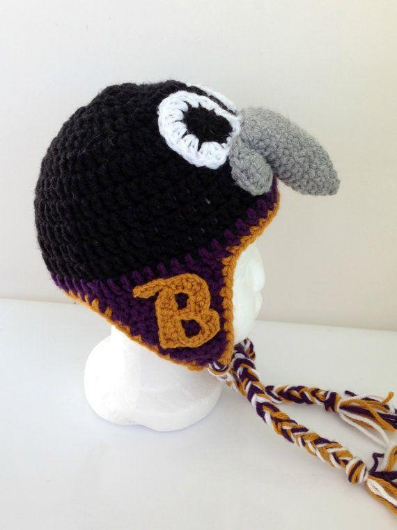 Baltimore Ravens hat crochet mascot Poe by OldBayCrochetShoppe