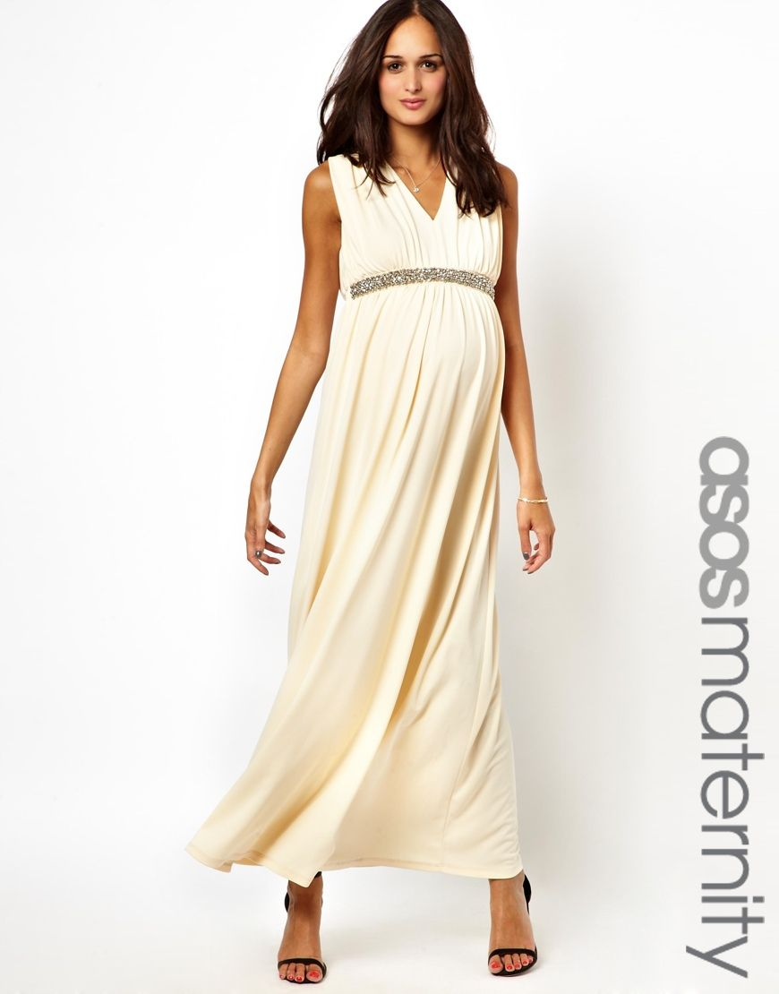 ef86c2ad34743 ASOS Maternity Exclusive Ruched Maxi Dress With V-Neck And Embellishment
