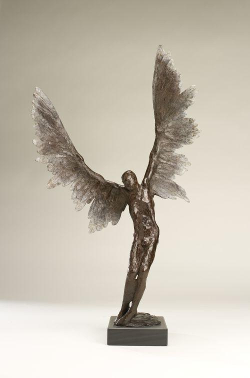 Bronze Garden Sculptures #sculpture By #sculptor Nicola Godden Titled:  U0027Icarus IV (Small Bronze Flying Outdoor Garden Statues)u0027 £4167 #art