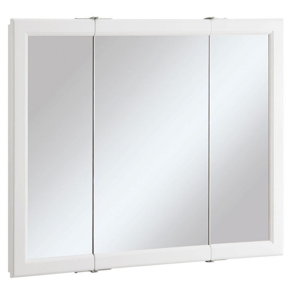 Design House Wyndham 36 In W X 30 In H X 4 3 4 In D Framed Tri View Surface Mount Bathroom Medicine Cabinet In White Semi Gloss 545103 Medicine Cabinet Mirror