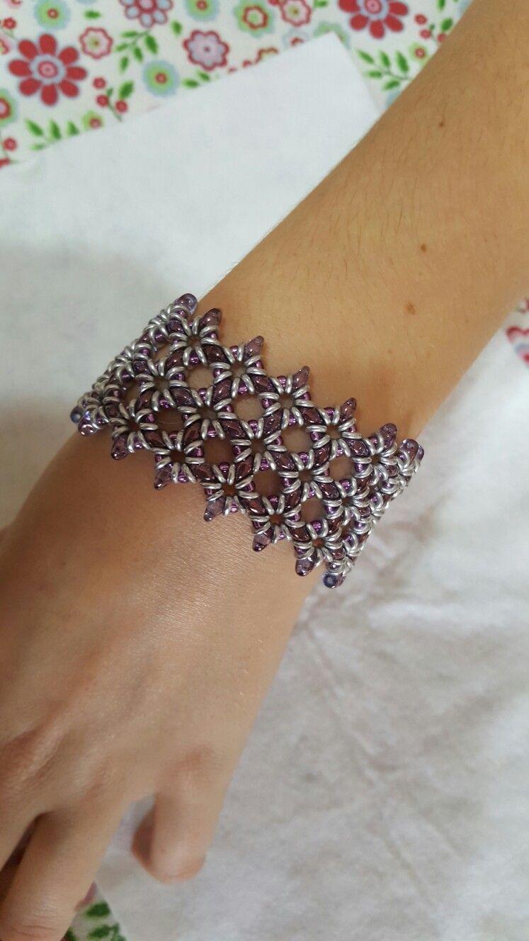 Lilac superduo bracelet