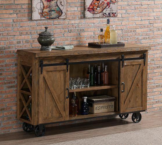 parrish bar cabinet pine furniture bar carts bar furniture pottery barn in 2020 diy on outdoor kitchen on wheels id=74923