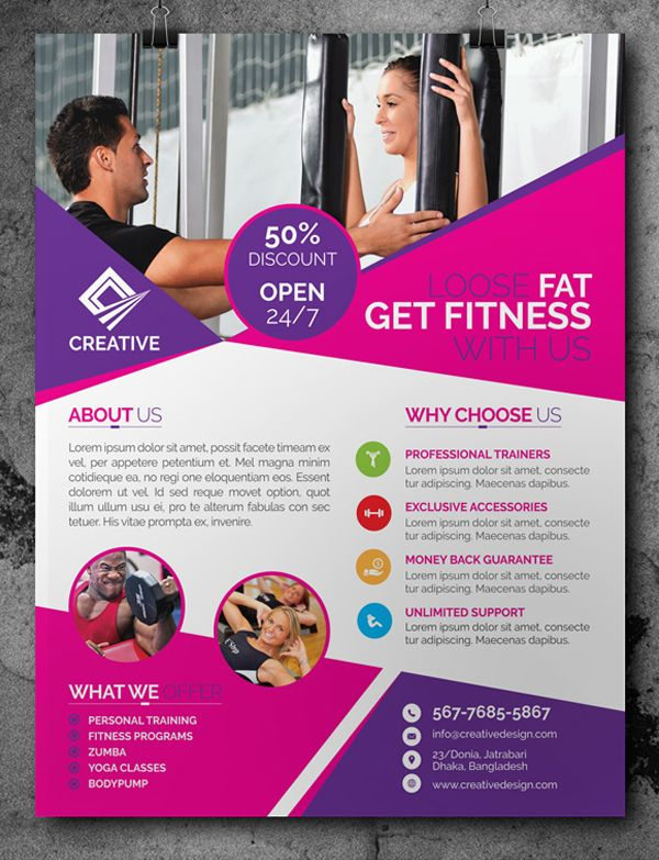 Free fitness gym flyer template psd free psd files for Fitness brochure template