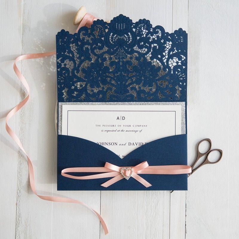 navy blue and peach wedding colors inspired laser cut wedding invitations swws028 - Navy Blue Wedding Invitations