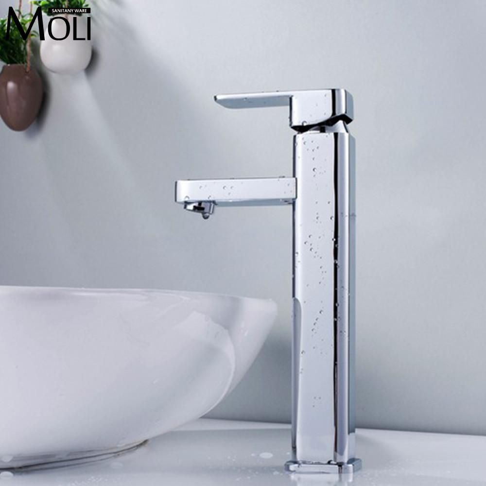 Buy Bathroom Tall Faucet Square Single Handle Water Taps Deck ...