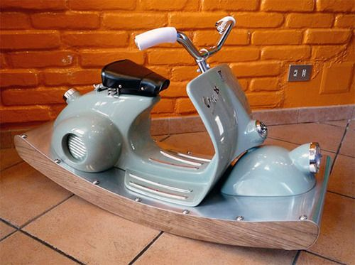 Vespa Scooter Rocking Horse: A loving grandfather made this for his grandson.