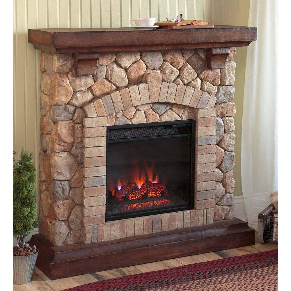 Plow Hearth Stacked Stone Electric Quartz Fireplace Heater