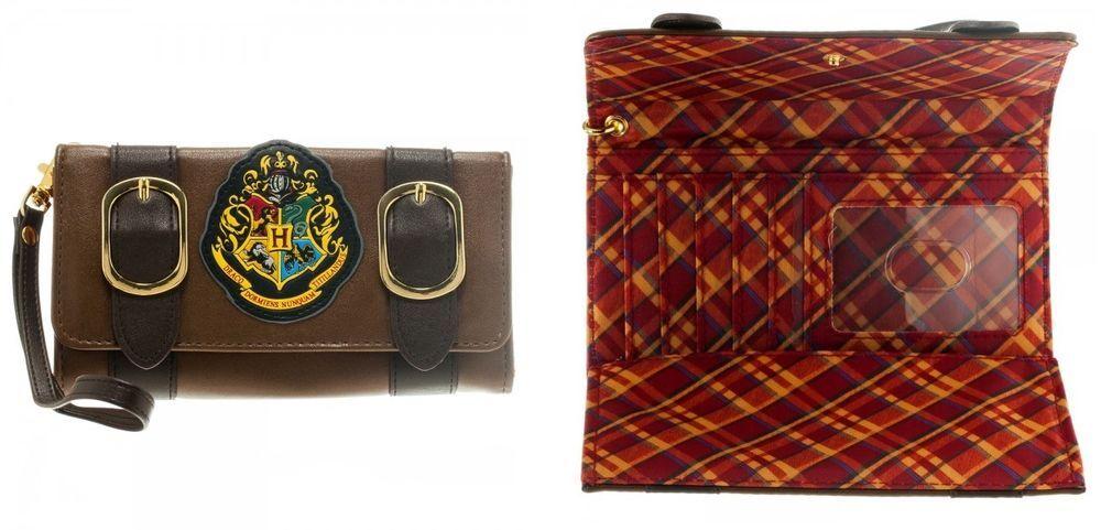 Hogwarts Alumni Harry Potter Satchel Fold Wallet Brown Crest Wristlet Wrist NEW #Bioworld #SatchelFoldWallet
