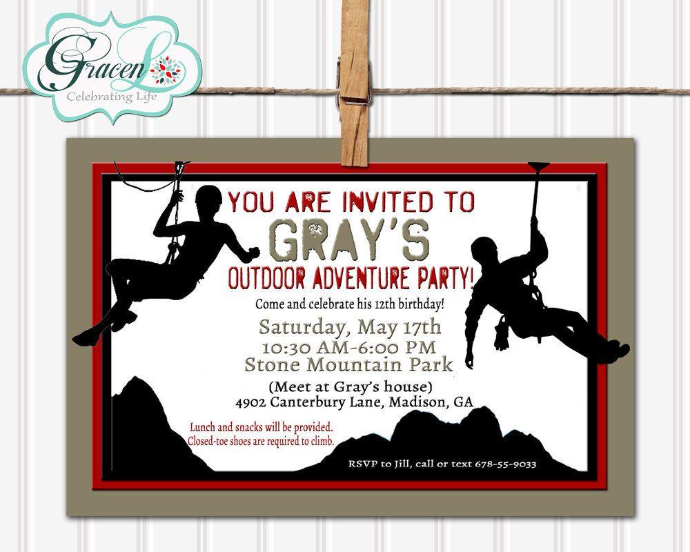 Rock Climbing Birthday Party Invitations | Free Printable Birthday ...