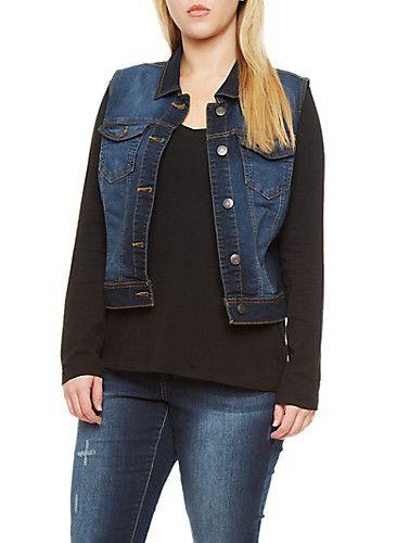 85207c078b7a Plus Size WAX Jean Denim Vest with Contrast Stitching | My Fashion ...