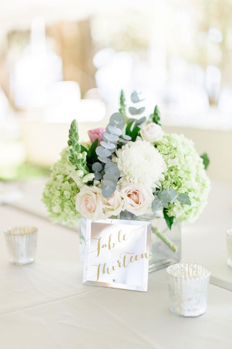 A Romantic Riverfront Blush Wedding | White centerpiece ...