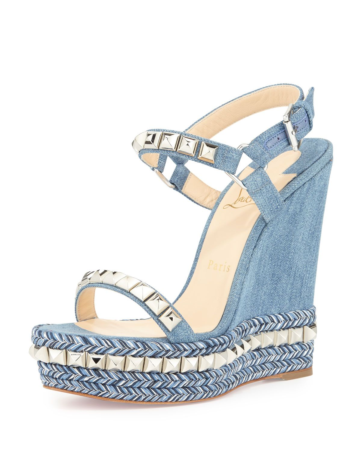Christian Louboutin Cataclou Denim 140mm Wedge Red Sole Sandal,  Blue/Silver, Size: