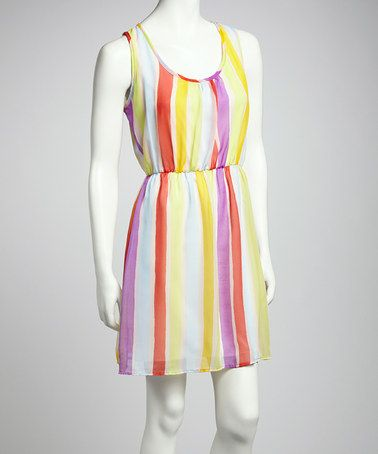Take a look at this Purple & Yellow Stripe Sleeveless Dress by Point Fashion on #zulily today!