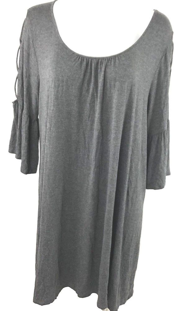 1f4ffdf0eaad6 NAIF Womens Dress Plus Size 3X Gray Rayon 3 4 Sleeve Cut Out Detail  NAIF   Casual
