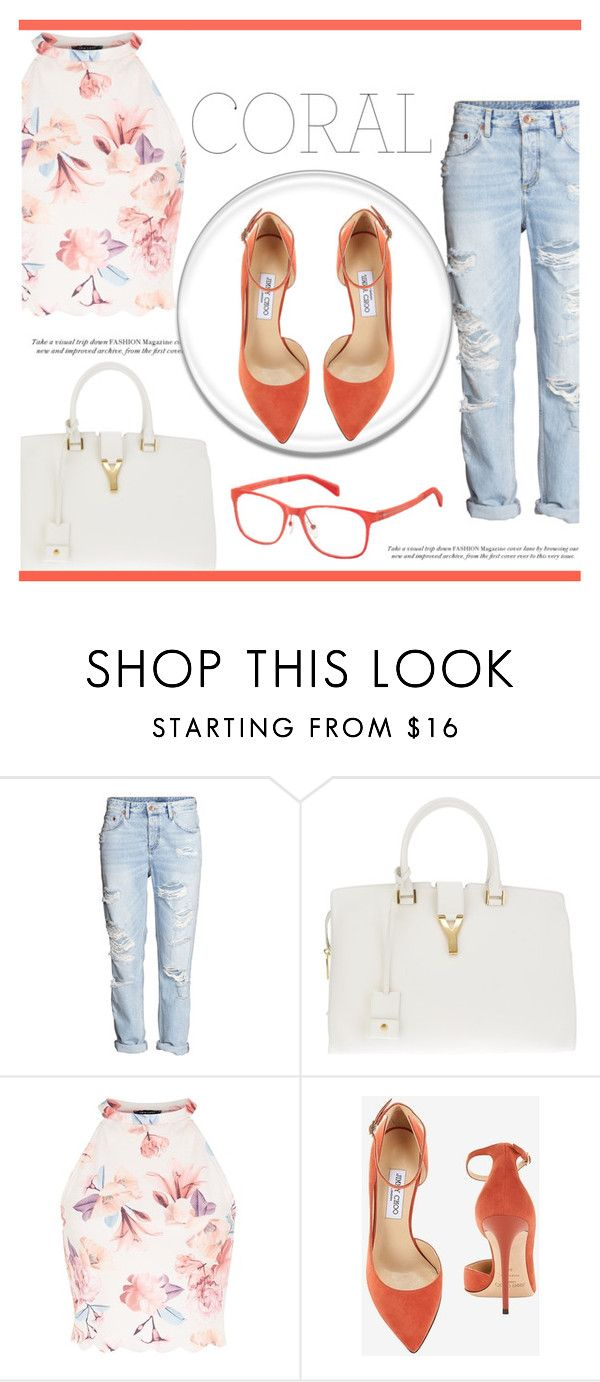"""""""Spring Beauty: Corals"""" by irena123 ❤ liked on Polyvore featuring Yves Saint Laurent, Jimmy Choo and Marc by Marc Jacobs"""