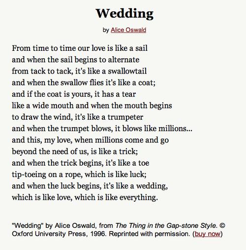 alice oswald wedding