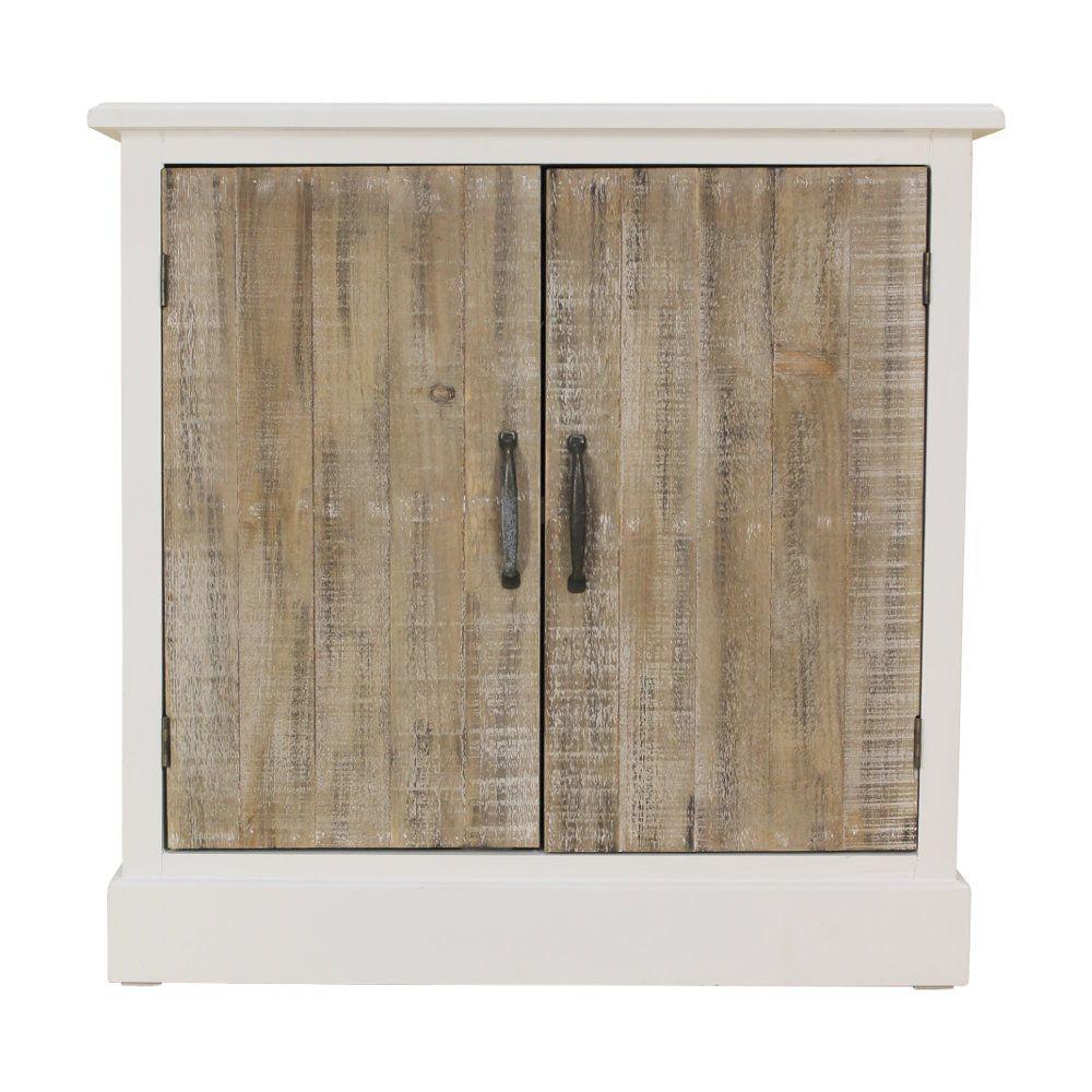 Mobiletto in legno bianco decapato con ante in legno ...