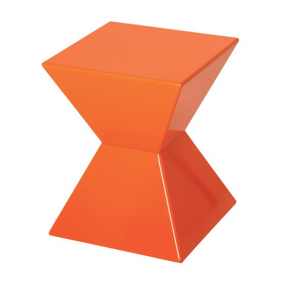 Delightful Furniture, Interesting Orange End Table With Unique Shape And Bright Color  Choice Side Table: Funky End Tables Feature Stylish Shapes And In.