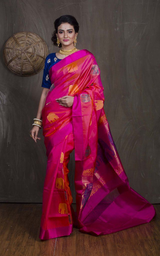 e7742d9dced652 Pure Kanchipuram Silk Saree in Rose Pink in 2019 | Kanjivaram Silk ...