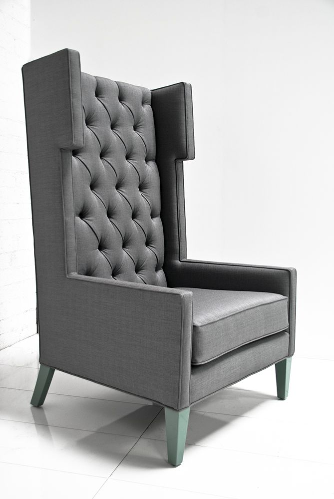 The Tangier Wing Chair In Charcoal Tweed By Mod
