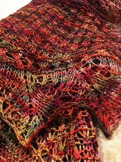 Free Pattern: Demalangeni Shawl  Downloaded from Ravelry where it is shown in solid color yarn