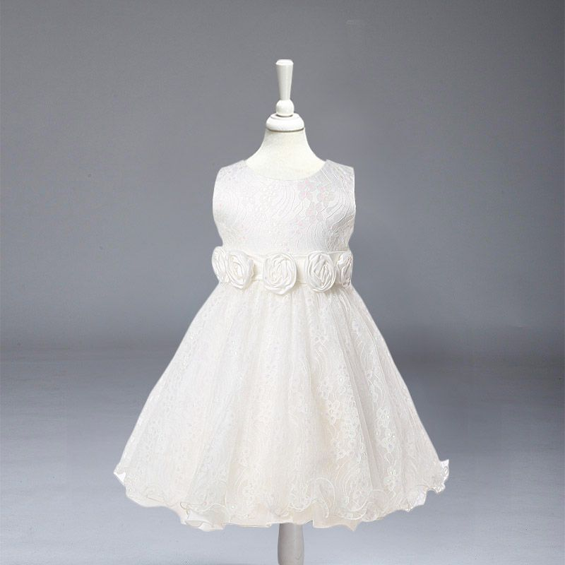 L-88 Retail kid girl dresses White lace dress for wedding party  Children princess dress