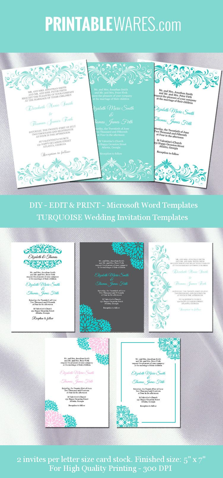 Turquoise Wedding Invitation Templates In 2019