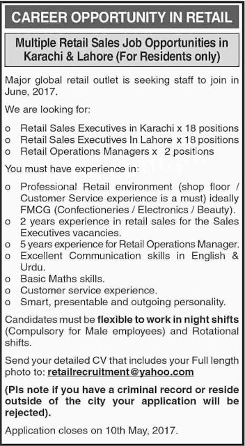 Sales Executive Operation Manager Jobs In Karachi Career Opportunity In Retail Multiple Retail Sales Job O Operations Management Sales Jobs Basic Math Skills