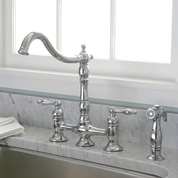 Charming Charelstown Bridge Style 2 Handle Chrome Kitchen Faucet   Overstock™  Shopping   Great