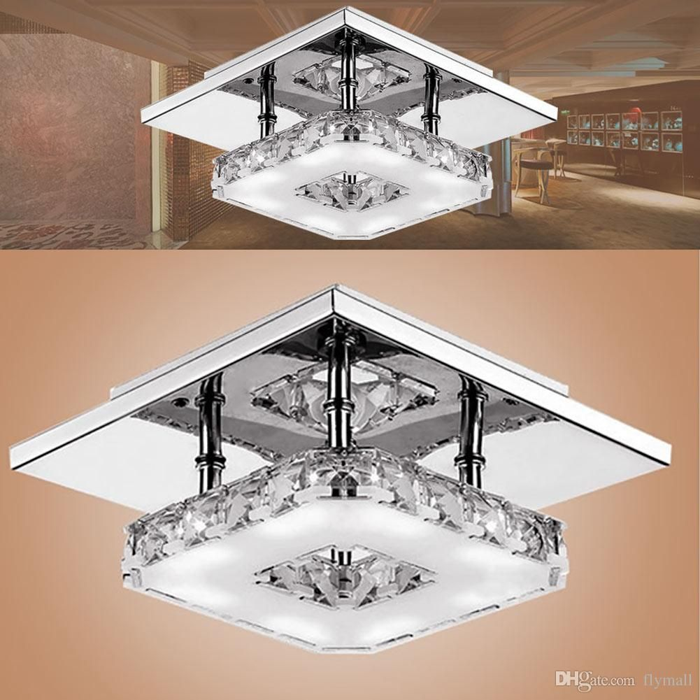 2019 Modern Led Crystal Ceiling Light 12w Fixture Square Surface Mounted Crystal Lamp For Hallway Corridor Asile Light Chandeliers Ceiling Light From Flymall Ceiling Lights Modern Ceiling Light Led Ceiling Lights