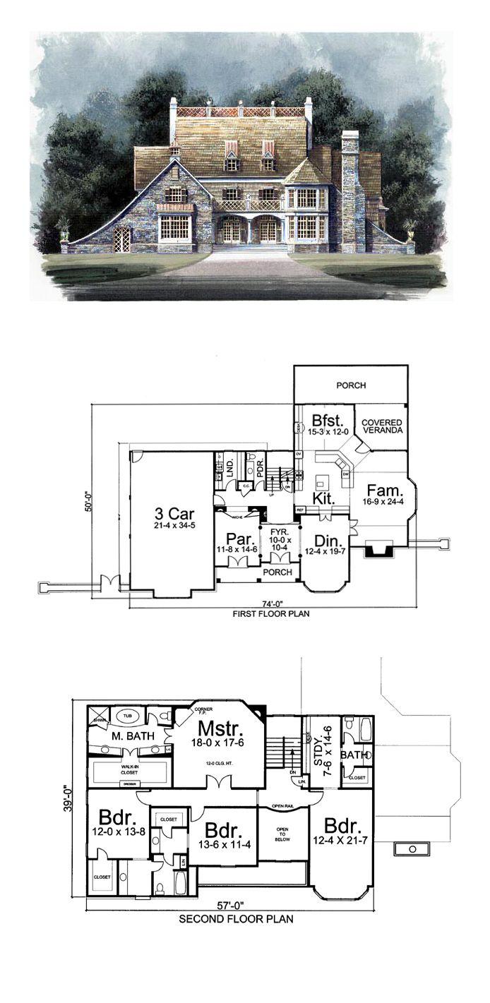 Tudor Style House Plan 72032 With 4 Bed 4 Bath 3 Car Garage House Blueprints Tudor Style Homes House Plans