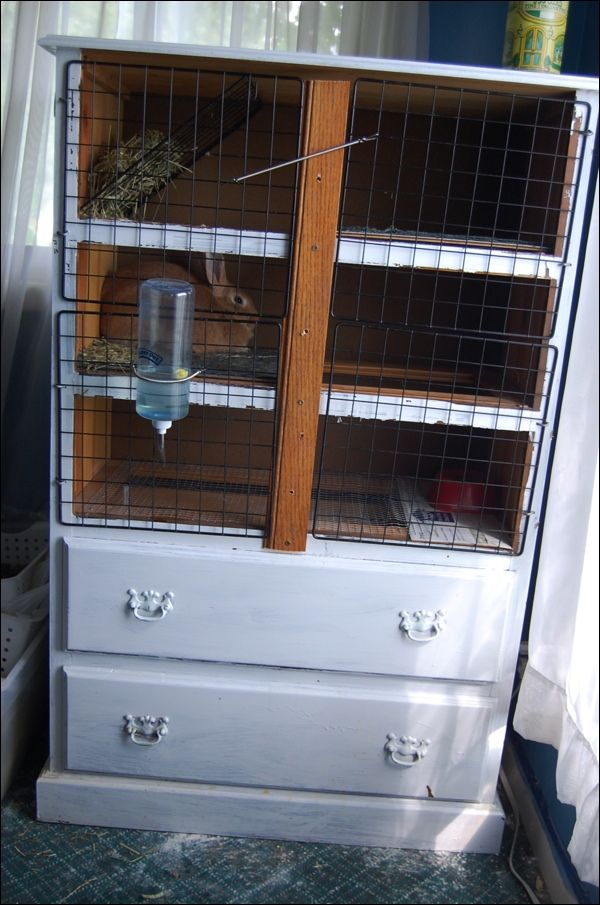 Rabbit hutch from old dresser chest of drawers mobile for Rabbit hutch ideas