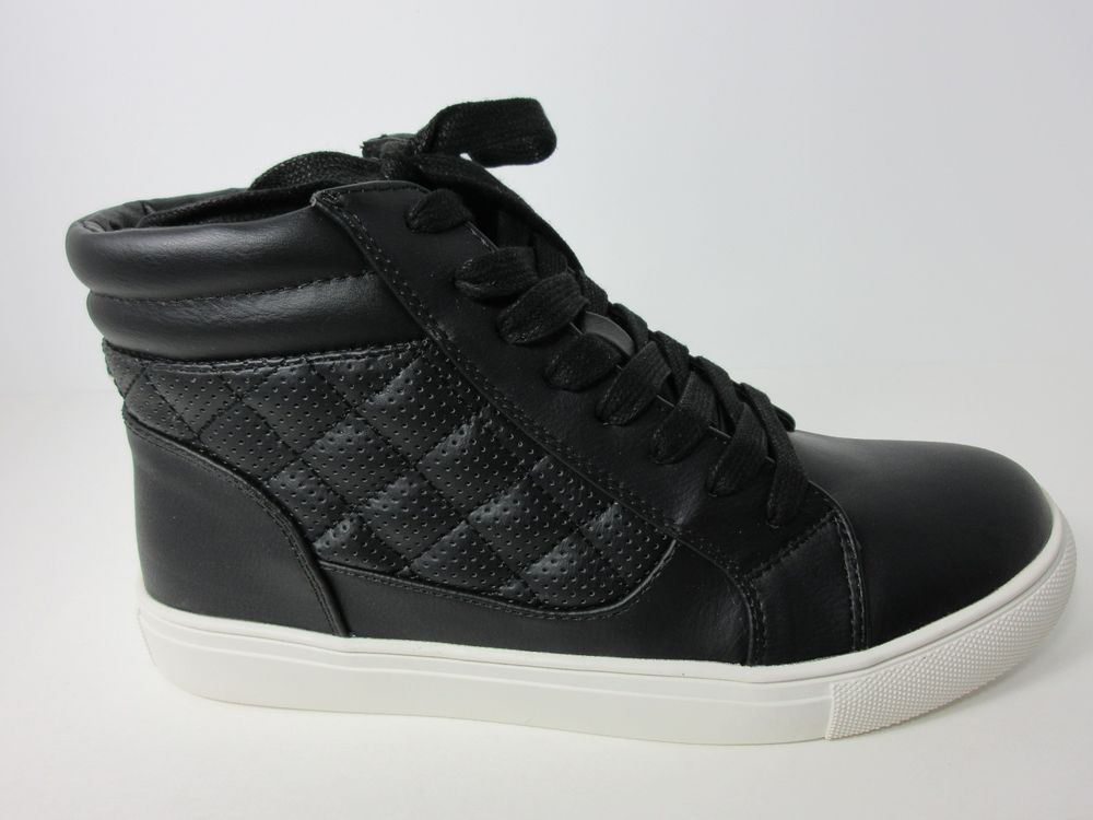 afd29e7c57a6 STEVE MADDEN 'EURIAH' HIGH TOP PERFORATED SNEAKERS BLACK WOMENS SIZE 8.5  SHOES #SteveMadden #Sneakers