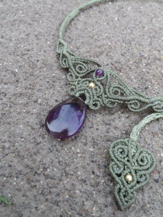 Amethyst Makramee Halskette Halsband Stein Größe ca. von LaQuetzal