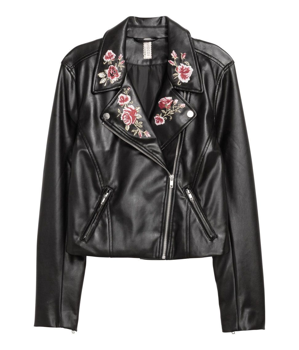 cb6979e13 Embroidered Moto Jacket | H&M Divided | H&M DIVIDED GIRLS | Faux ...