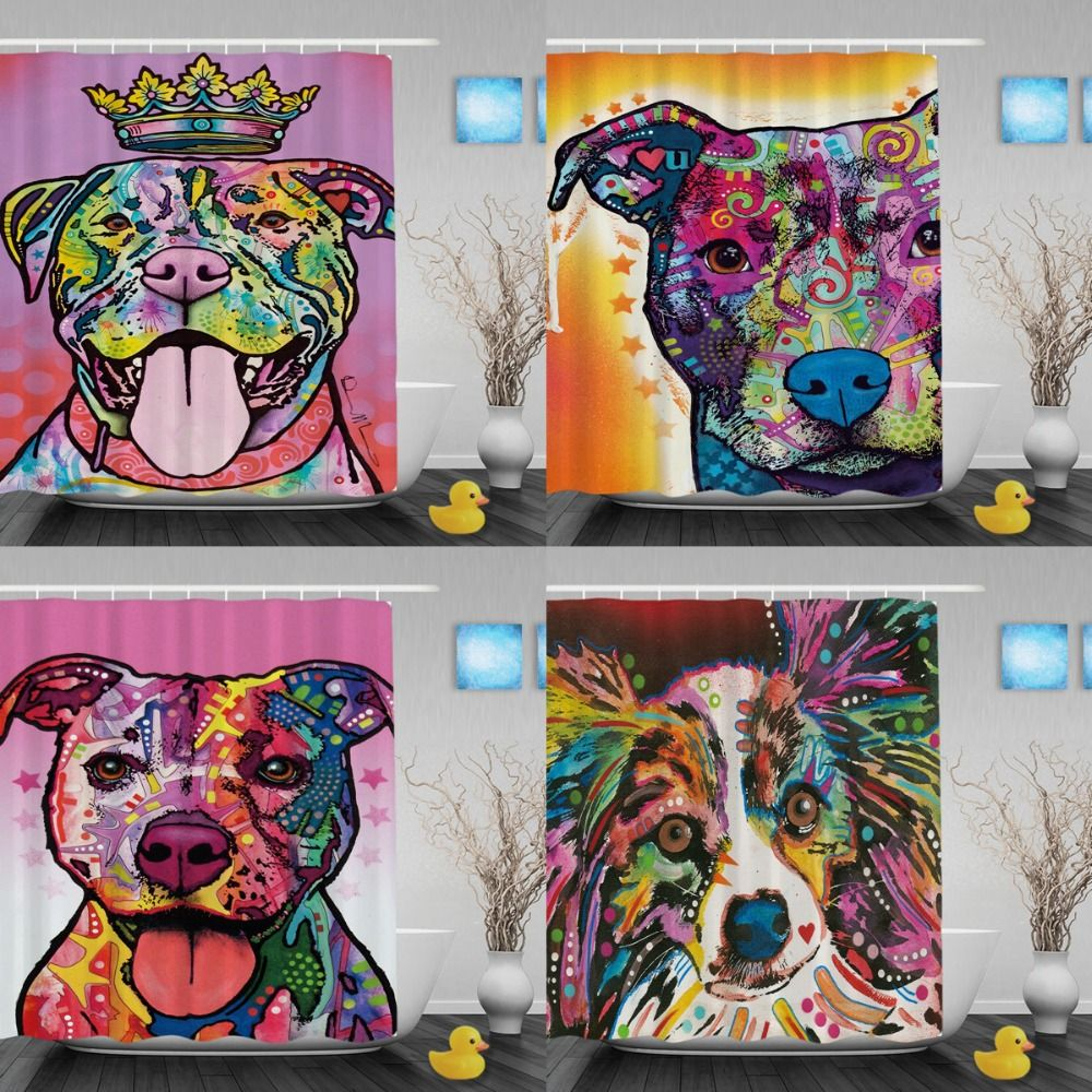 Funny Pitbull Shower Curtains Lightness Art Dog Bathroom Shower Curtains  Waterproof Polyester Fabric Shower Curtain With