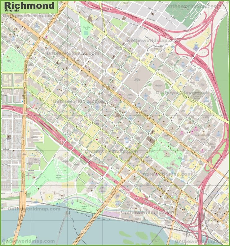 Large detailed map of Richmond Maps Pinterest Usa cities and City