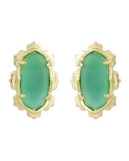 Y244Z Kendra Scott Frosted Green Shina Earrings