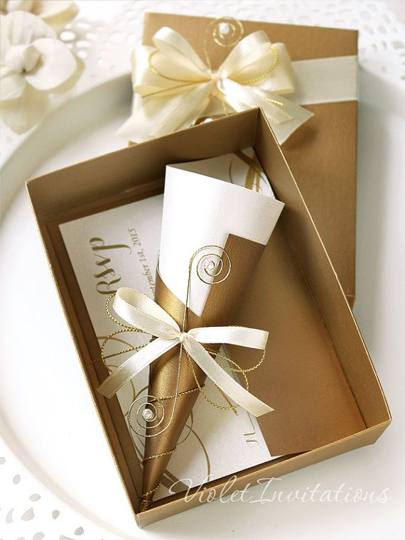 Unique Gold Ivory Boxed Scroll Handmade Invitation And RSVP Stationery Set By Violet