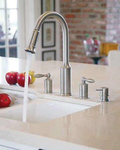 Moen 7592 Double Handle Kitchen Faucet with Reflex Pullout Spray ...