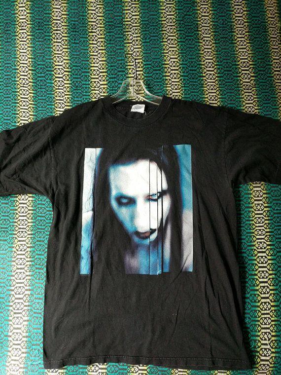 67f7641be32712 Marilyn Manson Shirt Long hard road out of hell Tshirt Vintage 90s -  Winterland Original Band Shirt