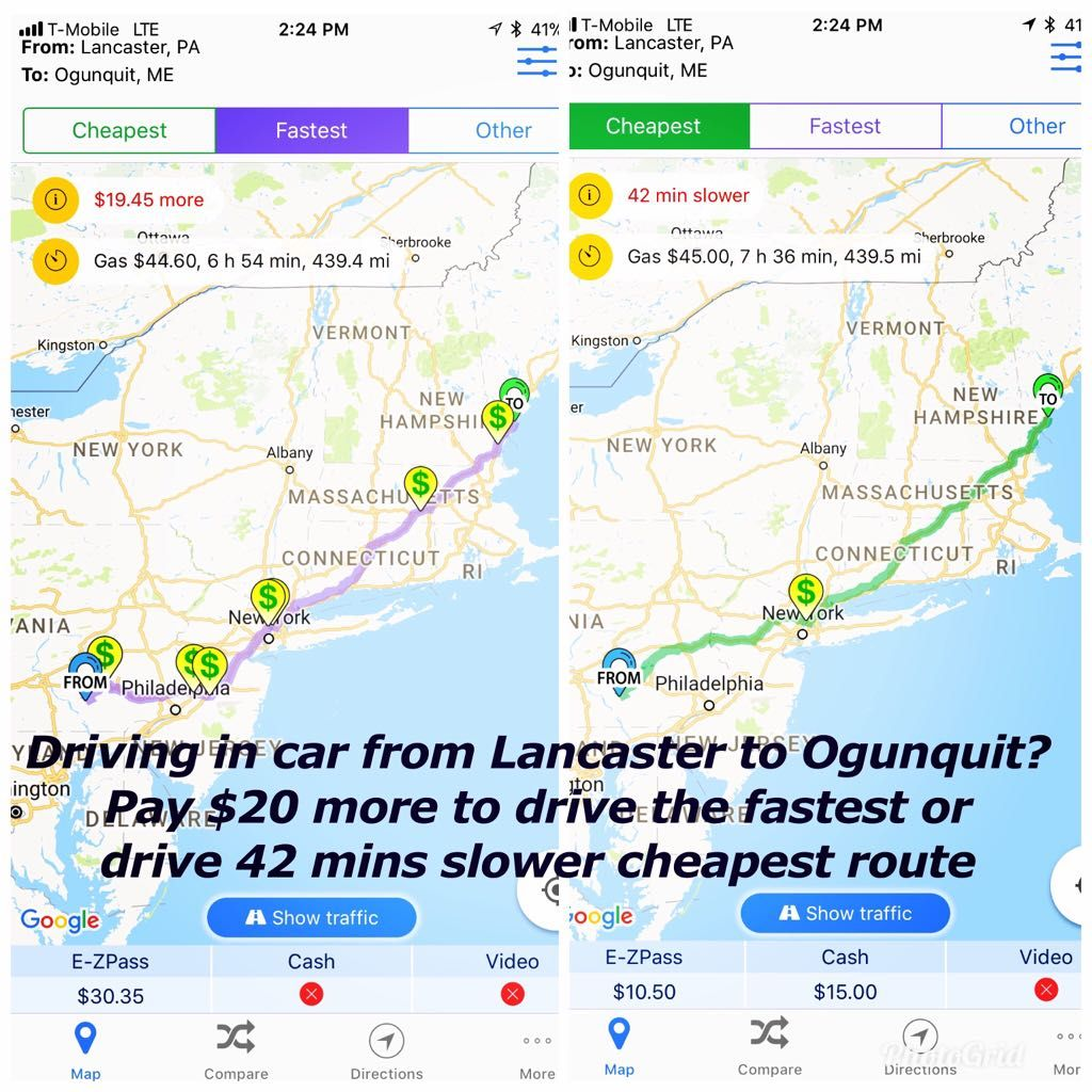 Florida Toll Road Map.Driving In Car From Lancaster To Ogunquit Pay 20 More To Drive The