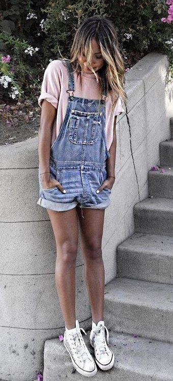 e6ab933fb95 summer outfits Blush Tee + Denim Overall + White Sneakers