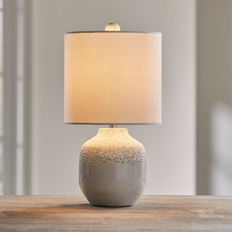 Quinn Grey And White Table Lamp Reviews Crate And Barrel In 2021 White Table Lamp Table Lamp Grey Table Lamps