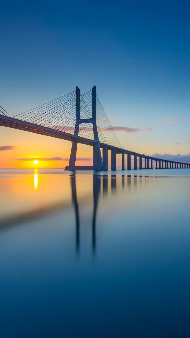 Sunset Bridge Architecture Wallpaper IPhone