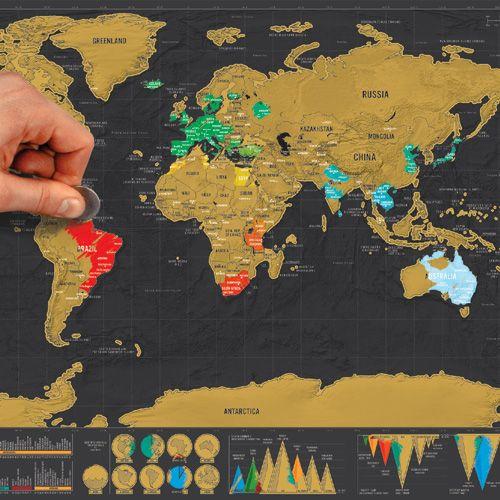 Très Carte du monde à gratter en papier noir et or Edition Deluxe  JK97