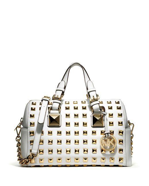 949b9c215eda MICHAEL Michael Kors Grayson Studded Satchel Bag - Optic White ...