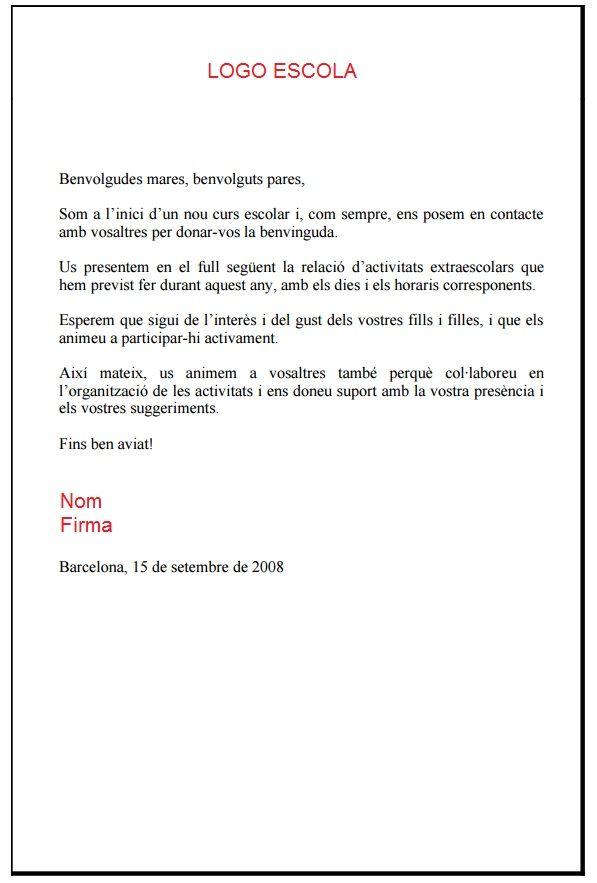 Calendario Escolar Barcelona.Carta Inicio Curso Escolar Circular Padres Bienvenida Nuevo Curso