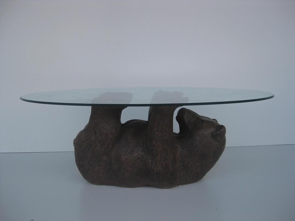 Glass Top Black Bear Coffee Table Oval Glass Coffee Table