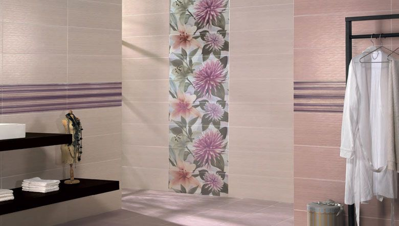 Wall Tiles Decorative Decorative Tiles In Shades Of Mauve Coordinating Wall And Floor